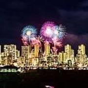 Waikiki Fireworks Celebration 2 Art Print
