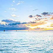 Waikiki Sunset After An Afternoon Thunderstorm Art Print