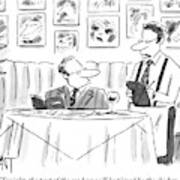 Waiter Reads The Specials To A Man At Dinner Art Print