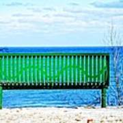 Waiting For Summer - The Green Bench Art Print