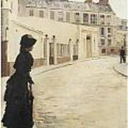 Waiting Paris Rue De Chanteaubriand Print by Jean Beraud