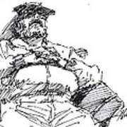 Waiting Room Nap Sketch Art Print