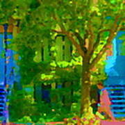 Walk In The City Past Blue Houses Staircases And Shade Trees Montreal Summer Scene Carole Spandau Art Print