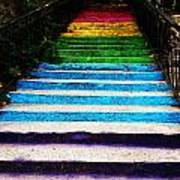 Walkin' On Rainbow Art Print by Lucy D