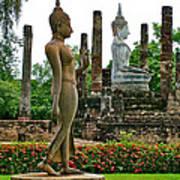 Walking And Sitting Buddha Images At Wat Sa Si In Sukhothai Historical Park-thailand Art Print