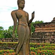 Walking Buddha Image In Wat Sa Si In Sukhothai Historical Park-t Art Print
