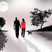 Walking By Moonlight Art Print