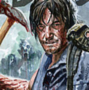 Walking Dead Sketch Cover Daryl Art Print