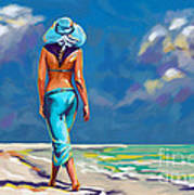 walking on the beach More Color Art Print