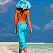 walking on the beach V Art Print