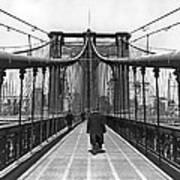 Walking On The Brooklyn Bridge Art Print