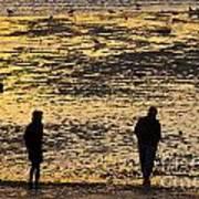 Strangers On A Shore - Walking Silhouettes Art Print