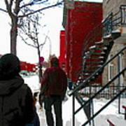 Walking The Dog Through Snowy Streets Of Montreal Urban Winter City Scenes Carole Spandau Art Print