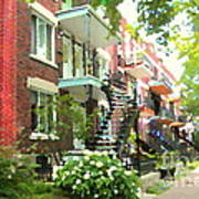 Walking Verdun In Summer Winding Staircases And Pathways Urban Montreal City Scenes Carole Spandau Art Print