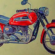 Wall Painted Motocycle Art Print