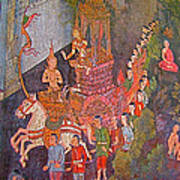 Wall Painting At Wat Suthat In Bangkok-thailand Art Print