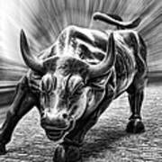 Wall Street Bull Black And White Art Print
