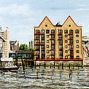 Wapping Thames Police Station And Rebuilt St Johns Wharf London Art Print