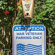 Veteran Parking Sign Art Print