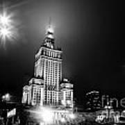 Warsaw Poland Downtown Skyline At Night Art Print