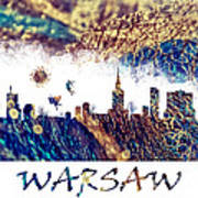 Warsaw Skyline Postcard Art Print