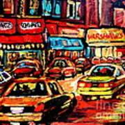 Warshaw's Bargain Fruits Store Montreal Night Scene Jewish Montreal Painting Carole Spandau Art Print