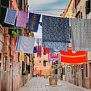 Washing Hanging Across Street, Venice Art Print