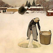 Washing On The Ice Art Print