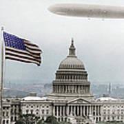 Washington Capitol And Blimp Art Print