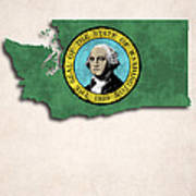 Washington Map Art With Flag Design Art Print