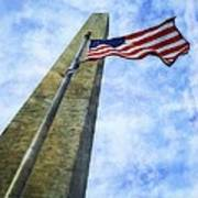 Washington Monument And Flag Art Print