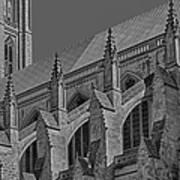 Washington National Cathedral  Bw Art Print