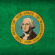 Washington State Flag Art On Worn Canvas Art Print