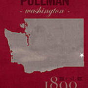 Washington State University Cougars Pullman College Town State Map Poster Series No 123 Art Print