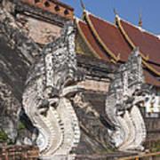 Wat Chedi Luang Phra Chedi Luang Five-headed Naga Dthcm0052 Art Print