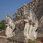 Wat Chedi Luang Phra Chedi Luang Five-headed Naga Dthcm0054 Art Print