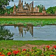 Wat Mahathat In13th Century Sukhothai Historical Park-thailand Art Print
