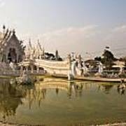 Wat Rong Khun And Its Reflection In Chiang Rai Thailand  Art Print