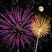 Watching Pink And Gold Explosion - Fireworks And Moon II Art Print