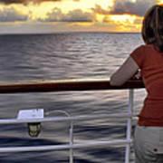 Watching The Sunrise At Sea Art Print