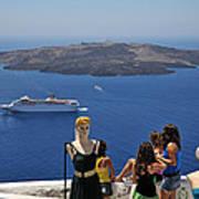 Watching The View In Santorini Island Art Print