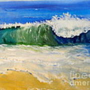 Watching The Wave As Come On The Beach Art Print