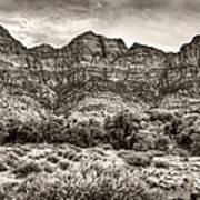 Watchman Trail In Sepia - Zion Art Print