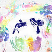 Water Color Bird Fight Art Print