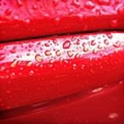 Water Drops On Red Car Paint Art Print