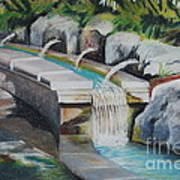 Water Fall In The Gratto Art Print