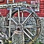 Water Wheel On Mill V2 Art Print
