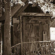 Water Wheel Shed I Sepia Art Print