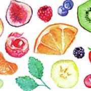 Watercolor Exotic Fruit Berry Slice Set Art Print