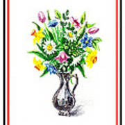 Watercolor Flowers Bouquet In Metal Pitcher Impressionism Art Print